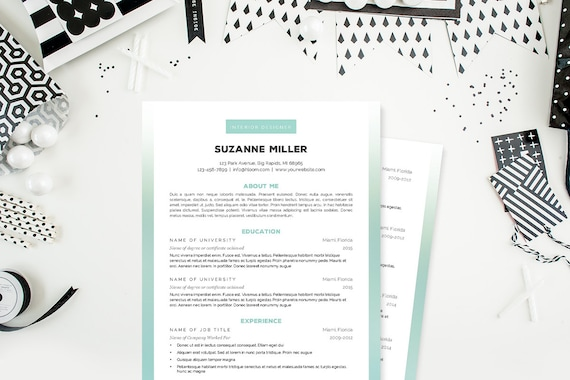 Ombre Resume, Cover Letter & References Template Package: Resume Design,  Cover Letter Design, CV and Resume Template - Instant Download