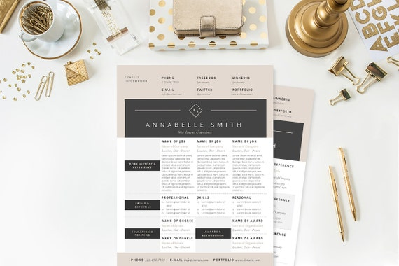 Elegant Modern Resume, Cover Letter & References Template Package: Resume  Design, Cover Letter Design, CV and Resume Template