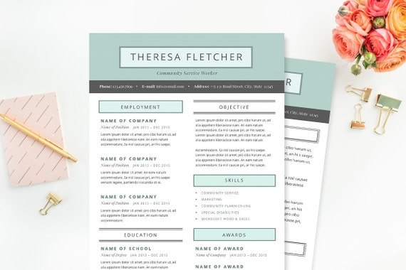 Chic Resume & Cover Letter Template Clean Template Package | Etsy