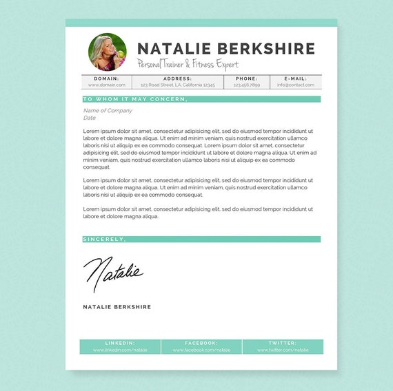 Turquoise Resume & Cover Letter Template - Clean Template Package - Resume  Design, Cover Letter Design - Resume for Word - Instant Download