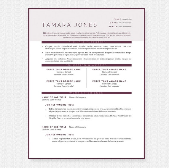 Plum Clean Resume, Cover Letter & References Template Package: Resume  Design, Cover Letter Design, CV and Resume Template