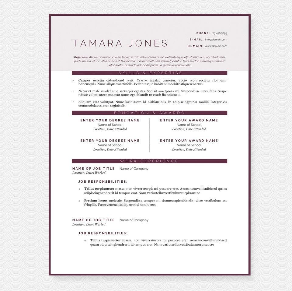 Limpiar ciruelo CV carta y paquete de la plantilla de | Etsy