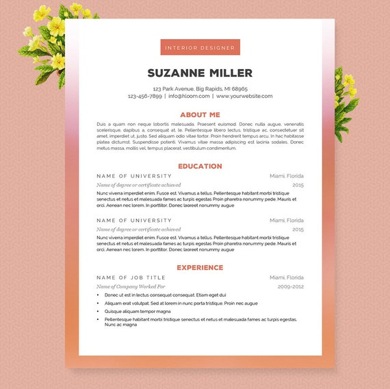 Orange Ombre Resume Cover Letter & References Template | Etsy