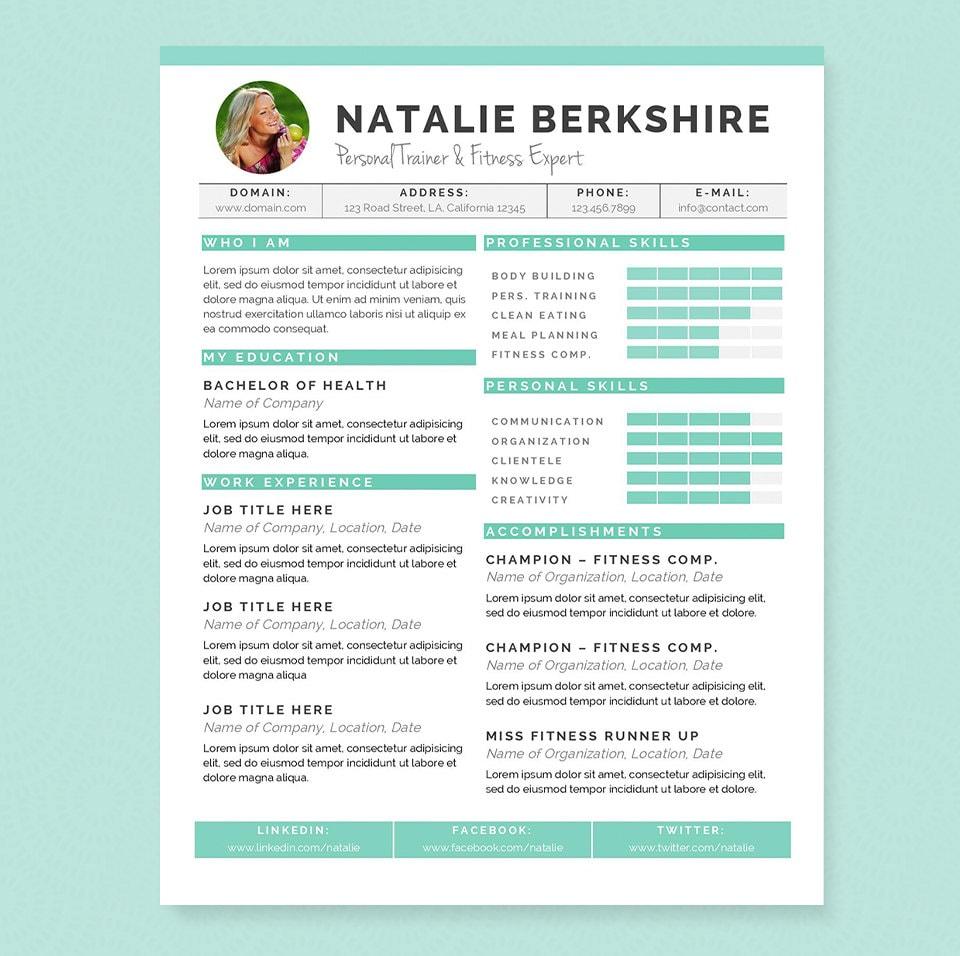 Descargar Pdf Ebook Turquoise Resume & Cover Letter Template ...