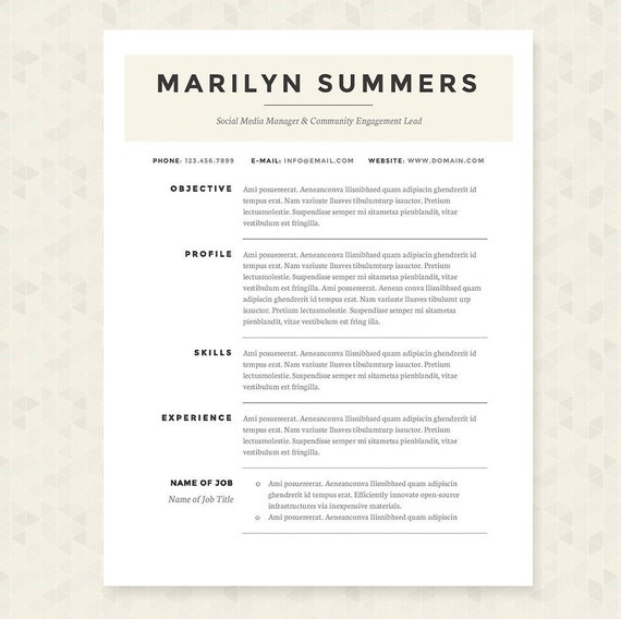 Classic Resume Cover Letter & References Template Package: | Etsy