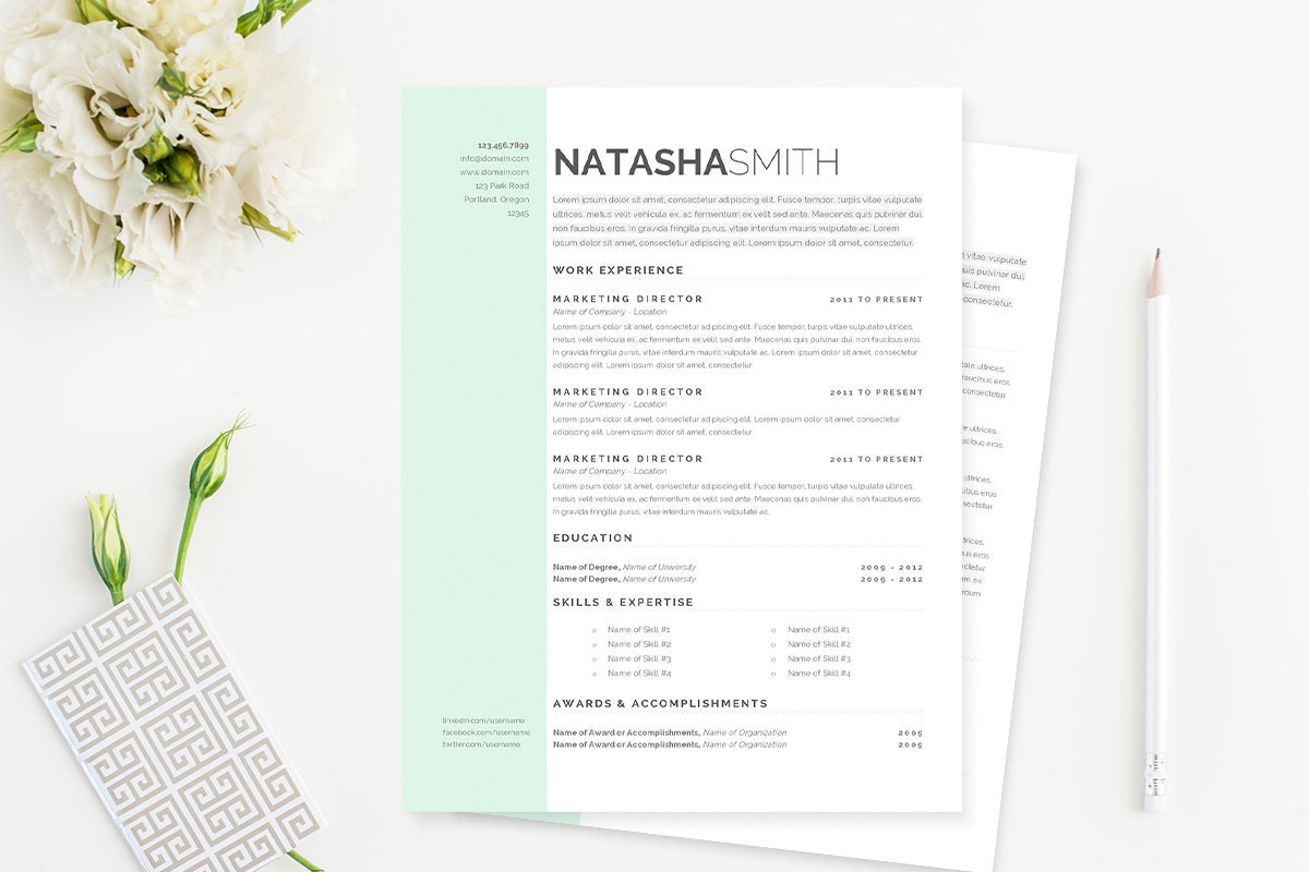 Pastel Resume Cover Letter Template Clean Template Package Etsy