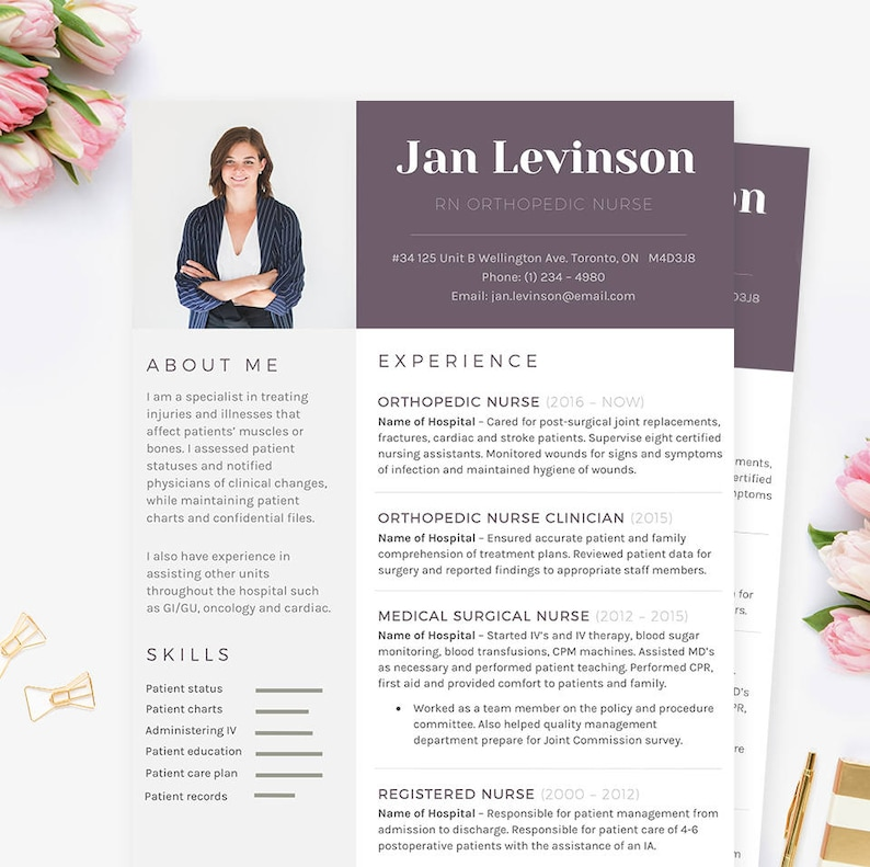 Orthopedic Nurse Resume, Cover Letter & References CV Microsoft Word  Template Package