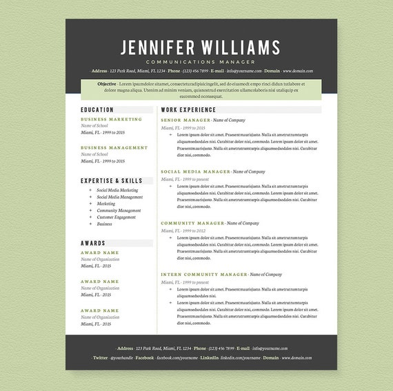 Professional Resume, Cover Letter & References Template Package: Resume  Design, Cover Letter Design, CV and Resume Template