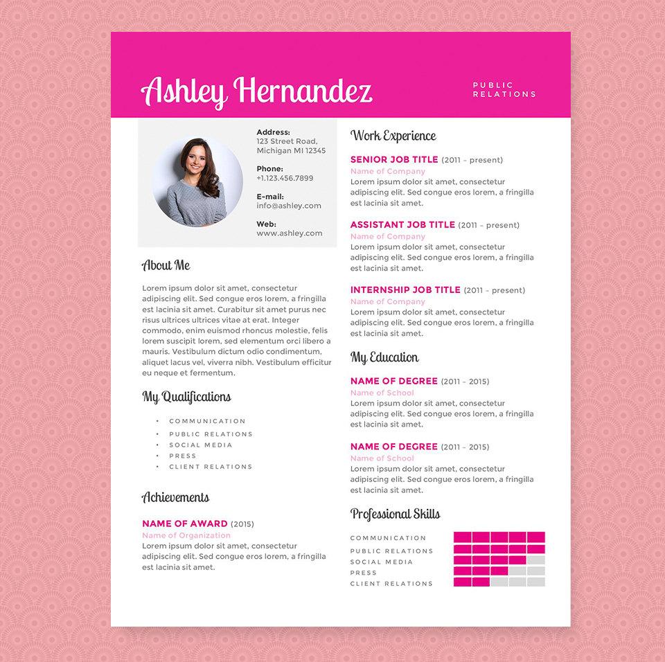 Curriculum Vitae rosa brillante y plantilla de carta de | Etsy