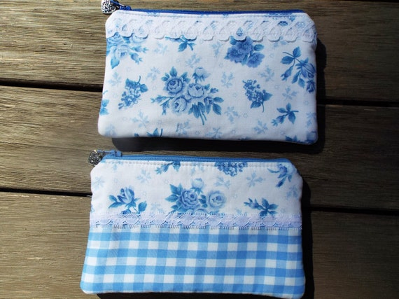 Pastel Watercolor FloralLight Blue 100/% cotton Pencil Case Makeup Bag Fully lined Zippered Pouch Vintage Fabric.