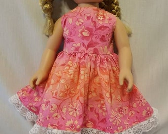 Pink and orange floral summer doll dress made to fit American Girl or other similar 18 inch dolls