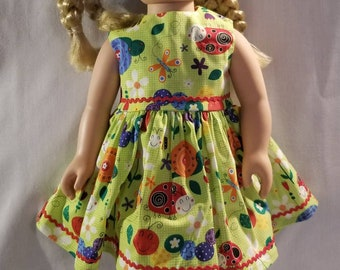 Ladybugs and other insects green doll dress fits American Girl or other similar 18 inch dolls
