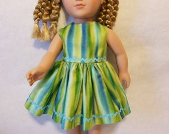 Green and blue striped doll dress fits American Girl or other similar 18 inch dolls