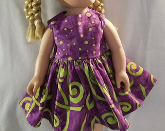Swirls and dots, green and purple doll dress made to fit American Girl or other similar 18 inch dolls