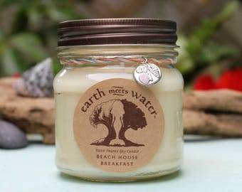Beach House Breakfast- 8 oz Soy Candle Hand Poured- 100% Soy Candle Mason Jar
