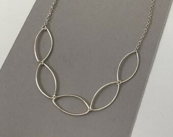 Simple marquise necklace, 5 marquise links, 925 sterling silver