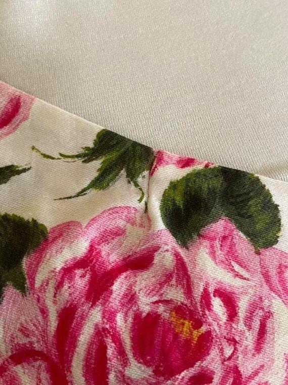 1950s amazing rose print one shoulder dress! - image 8