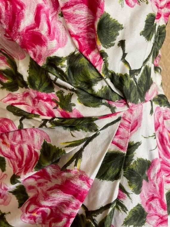 1950s amazing rose print one shoulder dress! - image 3