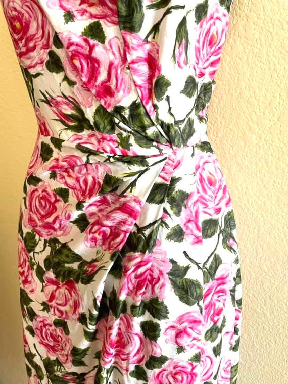 1950s amazing rose print one shoulder dress! - image 4