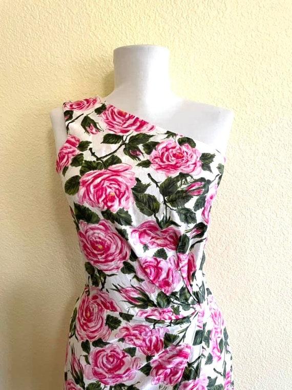 1950s amazing rose print one shoulder dress! - image 2
