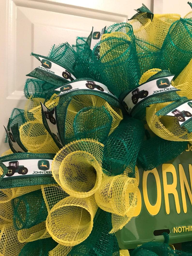 John Deere wreath, Born to Farm wreath, John Deere, farming wreath, John  Deere license plate, John Deere green, John Deere ribbon