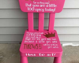 Time out chair, girls time out, Kids time out chair, Time out chair with timer, plastic time out chair, pink time out chair naughty chair