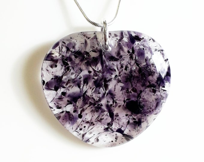 Purple heart pendant, cast glass in a mix of purple, lavender, black and clear glass