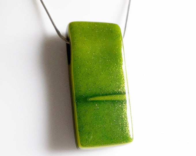 Fused glass pendant, green and yellow glass on silver chain or leather