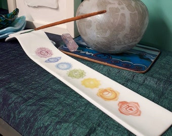 Incense holder, white fused glass with traditional seven chakras print.
