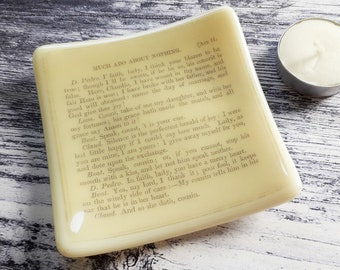 Much Ado About Nothing trinket dish, cream fused glass with text from an antique edition of Shakespeare's play.