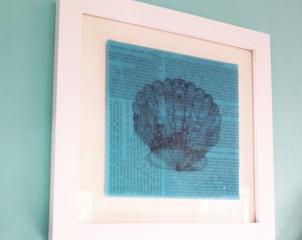 Glass art, 20000 Leagues Under The Sea by Jules Verne, on blue glass with shell illustration