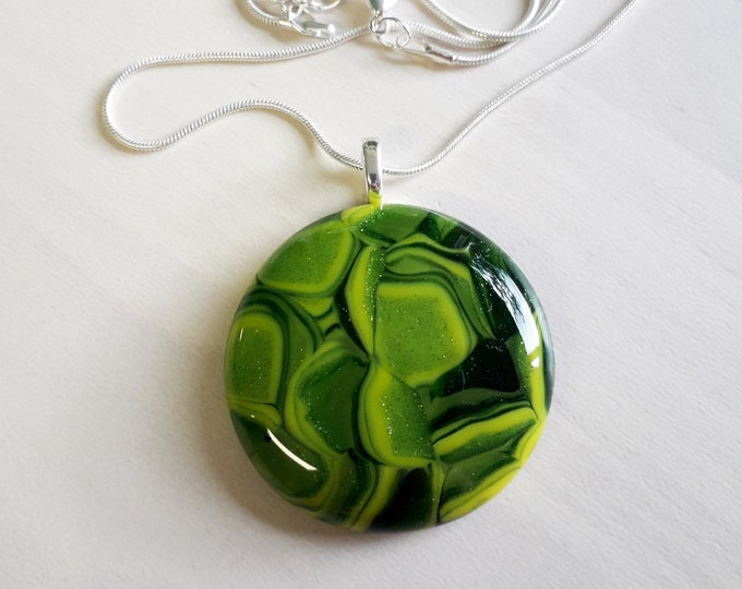 Cast glass pendant, green and yellow patterned glass on silver