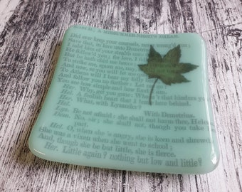 A Midsummer Night's Dream trinket dish, green fused glass with text from antique copy of the Shakespeare play.