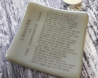 Chaucer trinket dish with print from an 1895 edition of The Canterbury Tales