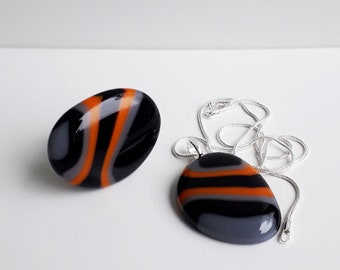 Ring & pendant set - fused glass, in in orange, grey, and black stripes.