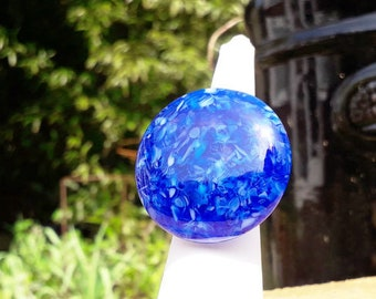 Blue glass ring, cast glass in a lovely mix of bright blues.