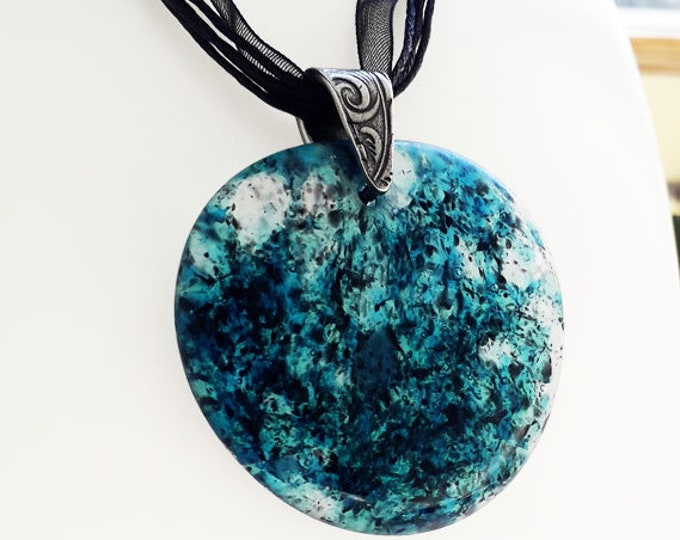 Cast glass pendant, aqua blue, clear and black glass on silver.