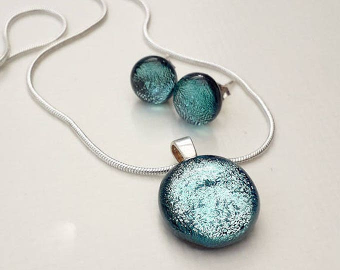 Blue dichroic jewellery set, pendant and earrings in pale blue glass with silver findings