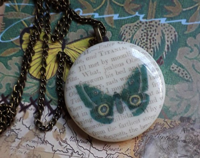 Fused glass pendant with text from Shakespeare's A Midsummer Night's Dream and green butterfly