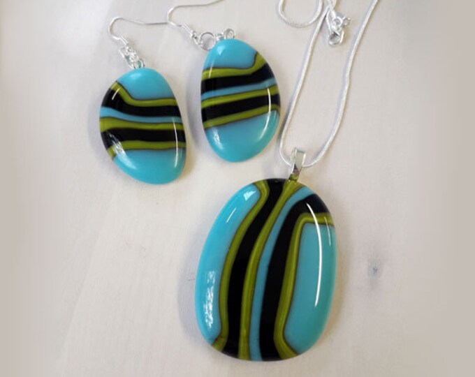 Fused glass earring & pendant set, in stripey blue, green and black glass on silver.