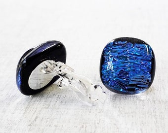 Clip-on fused glass earrings in sparkly blue dichroic glass