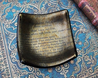 King Lear trinket dish, fused glass with vintage text from Shakespeare's King Lear