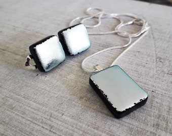 Dichroic jewellery set made with silver and black dichroic glass - clip on earrings and pendant