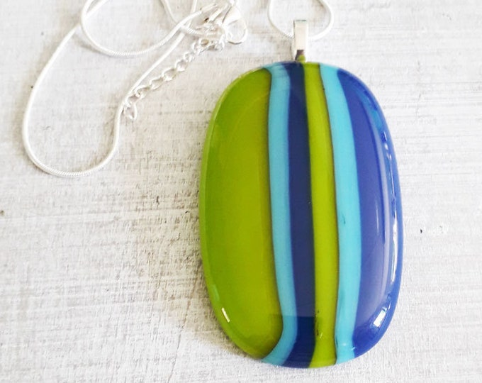 XL glass pendant in cool green & blue fused glass, really giant size