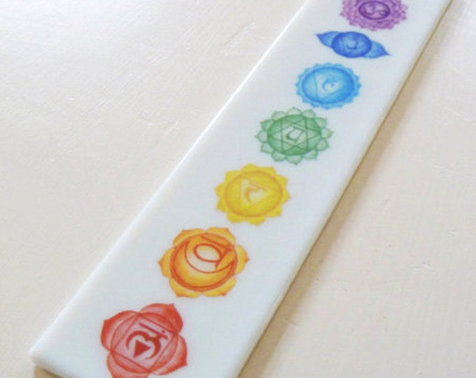 Chakra design wall plaque, white glass, rainbow coloured decorative hanging with the seven chakras