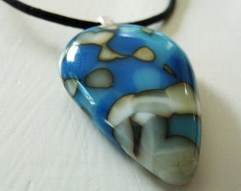 Cast glass pendant, inverted teardrop in blue and cream glass.