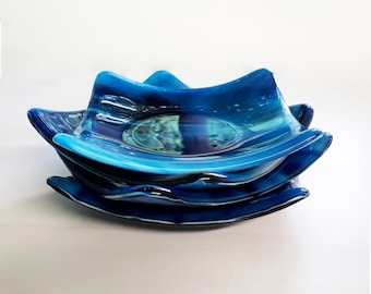 Blue glass dishes, set of 4, blue and white fused glass
