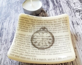 Time Machine trinket dish, cream fused glass with text from HG Wells' The Time Machine and vintage clock illustration