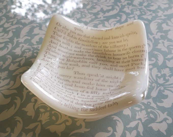 Fused glass trinket dish, with vintage print from Shakespeare's A Midsummer Night's Dream