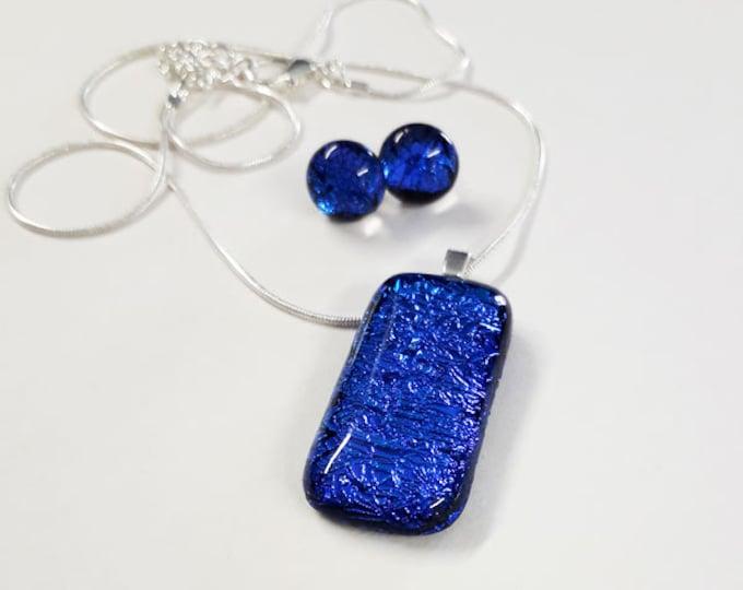Jewellery set, blue/aqua/purple dichroic fused glass pendant and earring set.